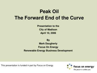 Peak Oil  The Forward End of the Curve