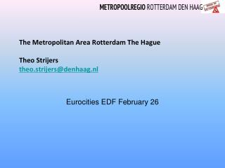 The Metropolitan Area Rotterdam The Hague Theo Strijers  theo.strijers@denhaag.nl