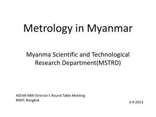 Metrology in Myanmar