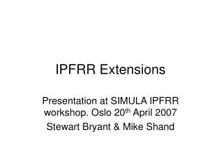 IPFRR Extensions