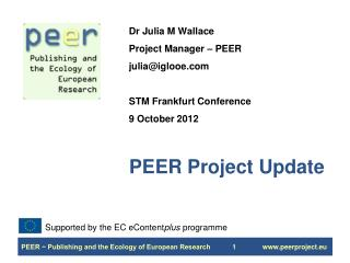 PEER Project Update