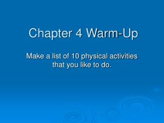 Chapter 4 Warm-Up