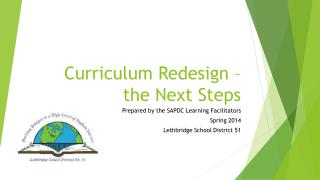 Curriculum Redesign – the  N ext Steps
