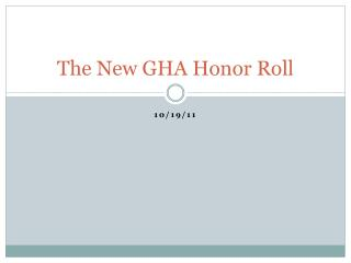 The New GHA Honor Roll
