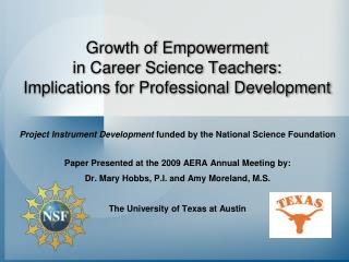Growth of Empowerment  in Career Science Teachers:   Implications for Professional Development