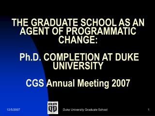 Duke University Graduate School in the early 1990's: