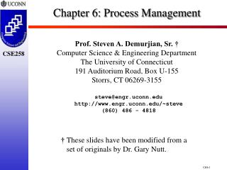 Chapter 6:  Process Management