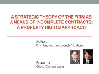 Authors: Kim,  Jongwook  and Joseph T. Mahoney Presenter: Cheng (Orange) Wang