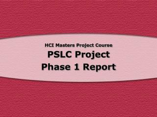 HCI Masters Project Course