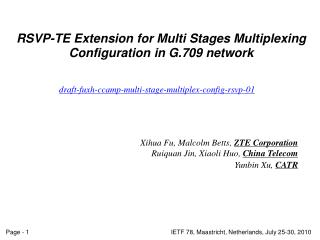 RSVP-TE Extension for Multi Stages Multiplexing Configuration in G.709 network