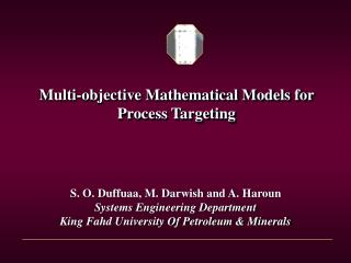 Multi-objective Mathematical Models for Process Targeting