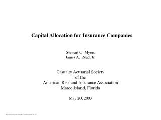 Capital Allocation for Insurance Companies