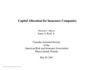 Capital Allocation for Insurance Companies