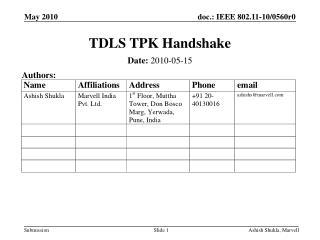 TDLS TPK Handshake