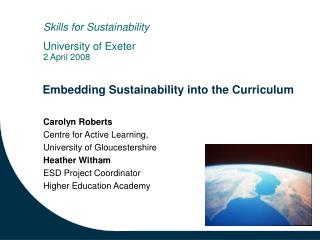 Embedding Sustainability into the Curriculum