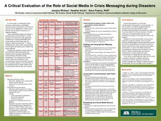 A Critical Evaluation of the Role of Social Media in Crisis Messaging during Disasters