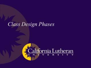 Class Design Phases