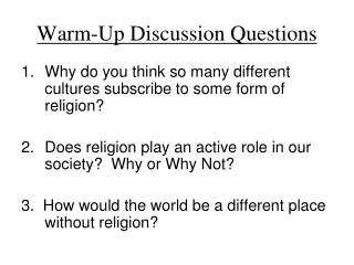 Warm-Up Discussion Questions