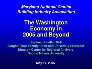 The Washington Economy in 2005 and Beyond