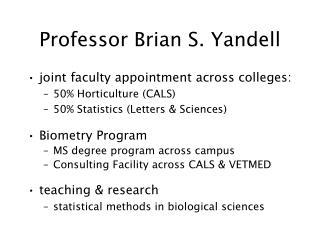 Professor Brian S. Yandell