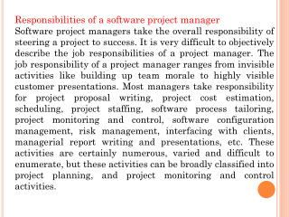 Responsibilities of a software project manager