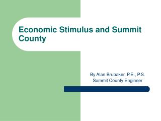 Economic Stimulus and Summit County
