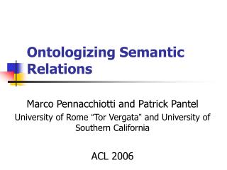 Ontologizing Semantic Relations