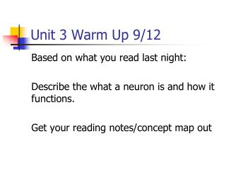 Unit 3 Warm Up 9/12