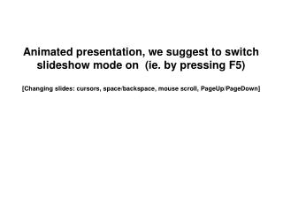 Animated presentation, we suggest to switch slideshow mode on  (ie. by pressing F5)