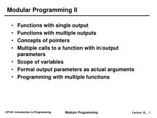 Modular Programming II
