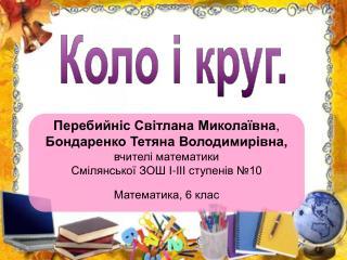 Перебийніс Світлана Миколаївна , Бондаренко Тетяна Володимирівна, вчителі математики