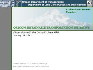 Discussion with the Corvallis Area MPO January 30, 2013