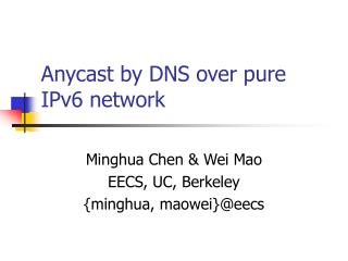 Anycast by DNS over pure IPv6 network