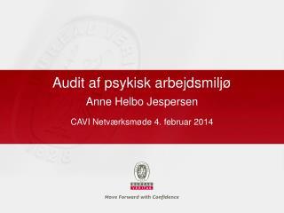 Audit af psykisk arbejdsmiljø  Anne Helbo Jespersen CAVI Netværksmøde 4. februar 2014