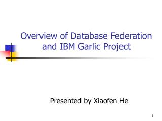 Overview of Database Federation and IBM Garlic Project