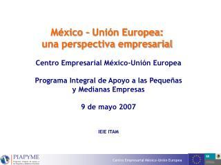 México – Unión Europea:  una perspectiva empresarial  Centro Empresarial México-Unión Europea