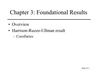 Chapter 3: Foundational Results