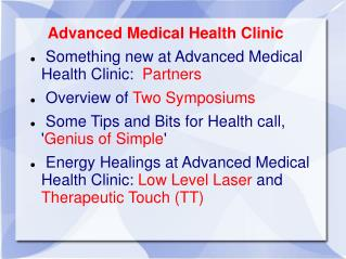 Advanced Medical Health Clinic  Something new at Advanced Medical Health Clinic:   Partners