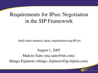 Requirements for IPsec Negotiation in the SIP Framework