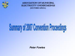 ASSOCIATION OF MUNICIPAL ELECTRICITY UNDERTAKINGS