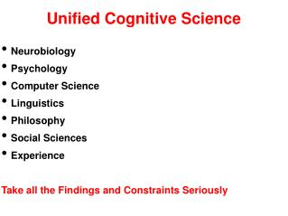 Unified Cognitive Science