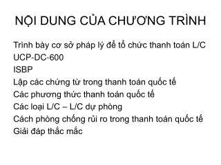 NI DUNG CA CHUONG TR NH
