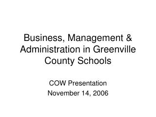 Business, Management & Administration in Greenville County Schools