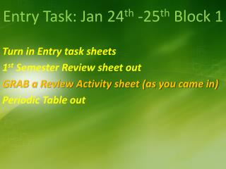 Entry Task: Jan 24 th  -25 th  Block 1