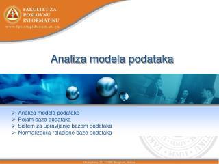 Analiza modela podataka