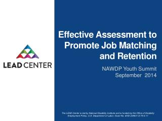 Effective Assessment to Promote Job Matching and Retention