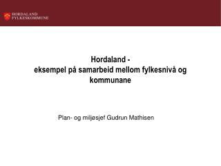 Hordaland -  eksempel på samarbeid mellom fylkesnivå og kommunane