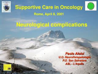 Supportive Care in Oncology Rome, April 8, 2001