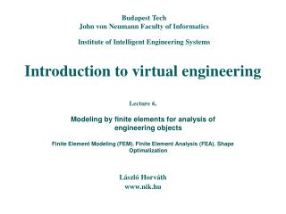 Introduction to virtual engineering