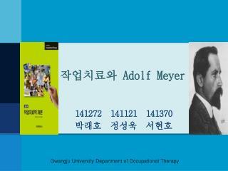 작업치료와  Adolf Meyer